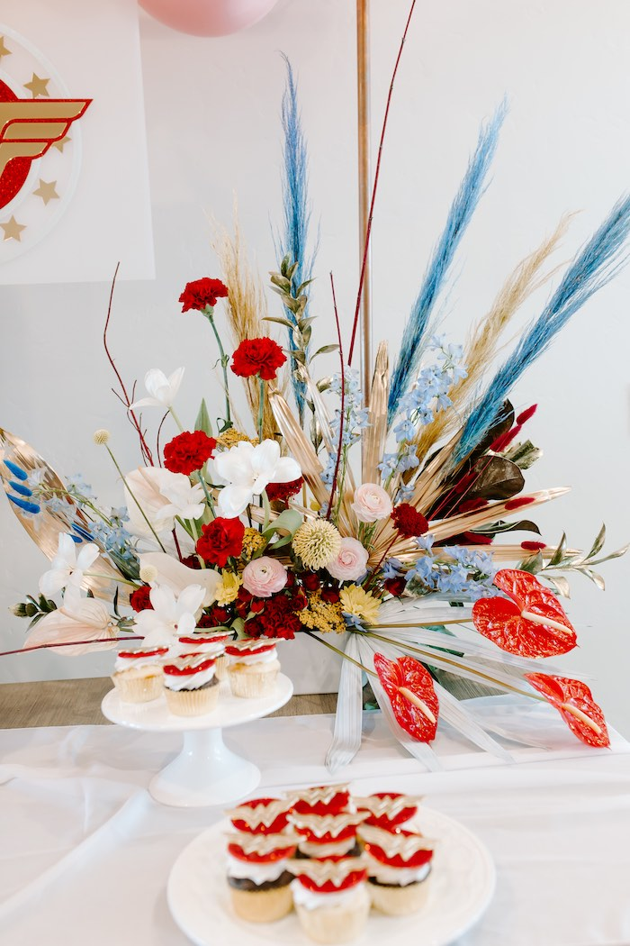 Florals from a Wonder Woman Birthday Party on Kara's Party Ideas | KarasPartyIdeas.com (19)