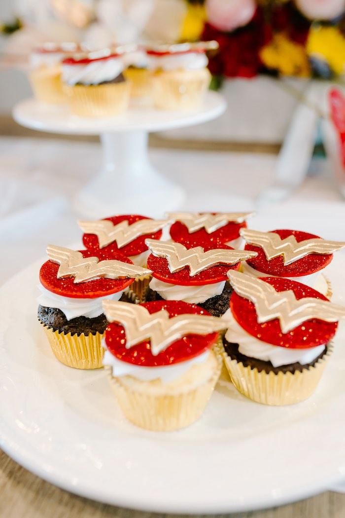 Wonder Woman Cupcakes from a Wonder Woman Birthday Party on Kara's Party Ideas | KarasPartyIdeas.com (18)