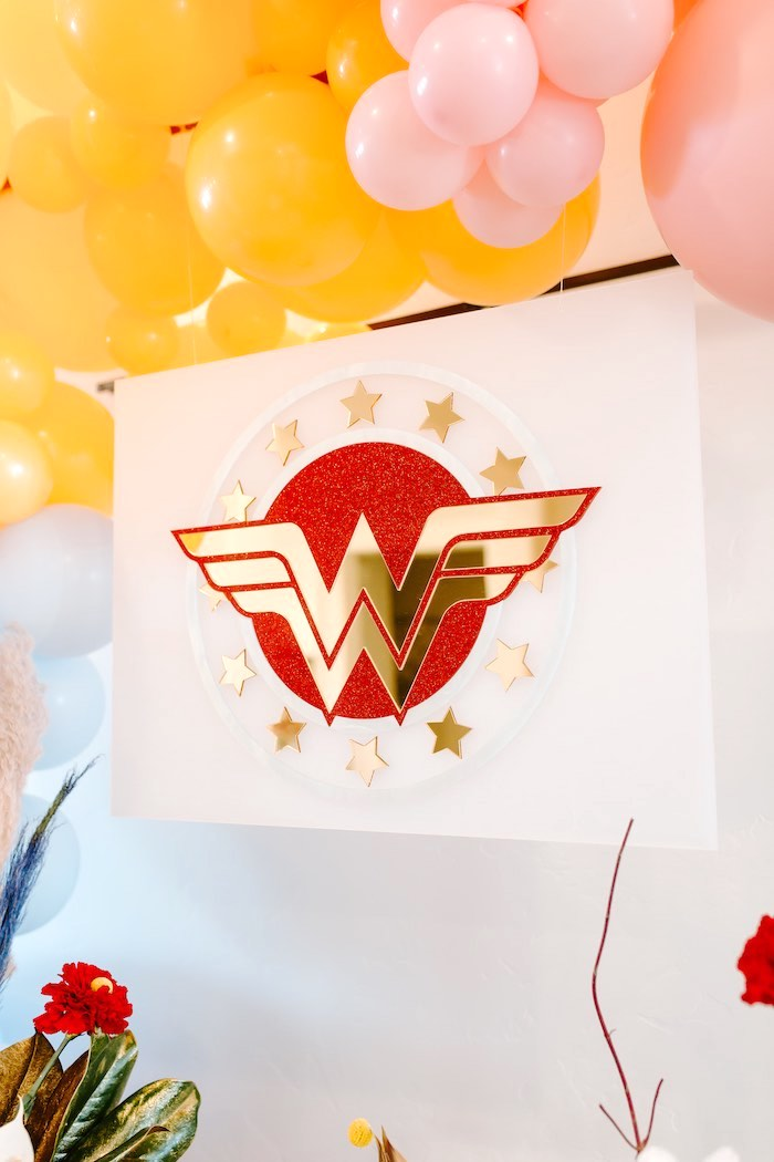Wonder Woman Backdrop + Sign from a Wonder Woman Birthday Party on Kara's Party Ideas | KarasPartyIdeas.com (16)
