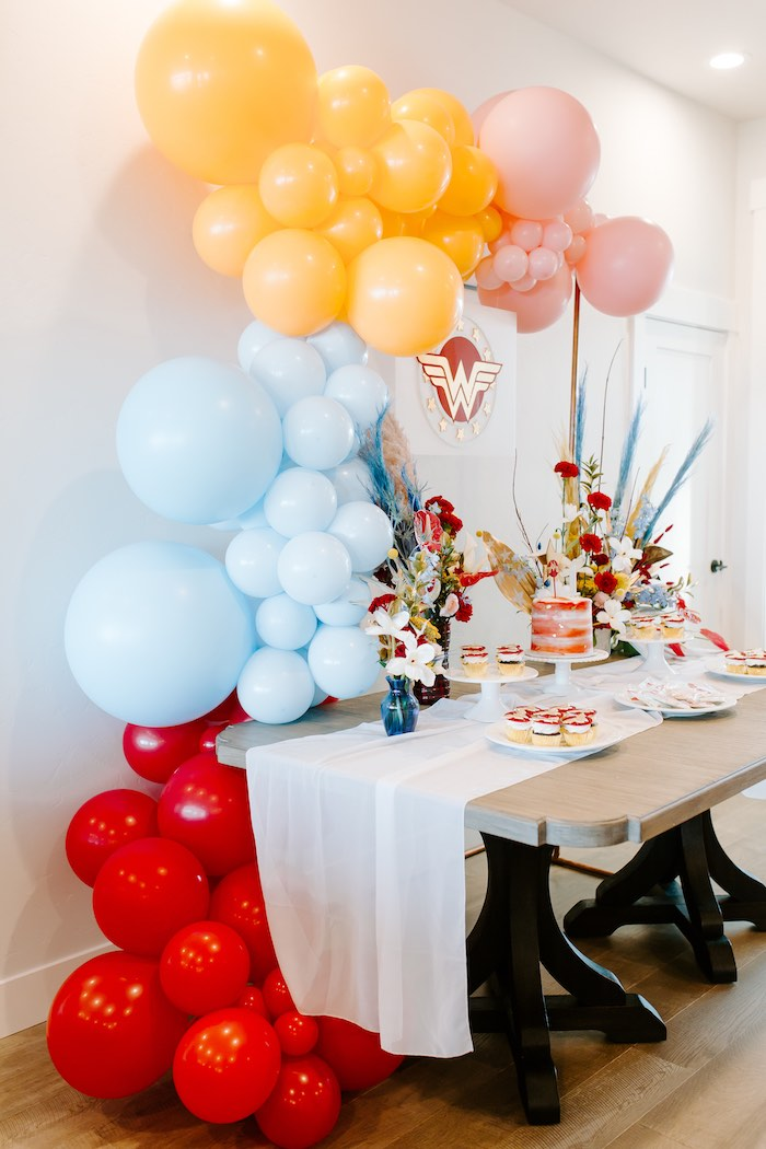 Wonder Woman-inspired Dessert Table from a Wonder Woman Birthday Party on Kara's Party Ideas | KarasPartyIdeas.com (15)