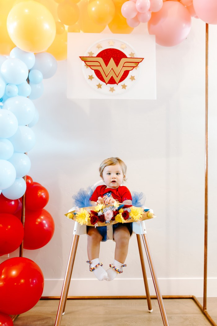 Wonder Woman High Chair from a Wonder Woman Birthday Party on Kara's Party Ideas | KarasPartyIdeas.com (10)