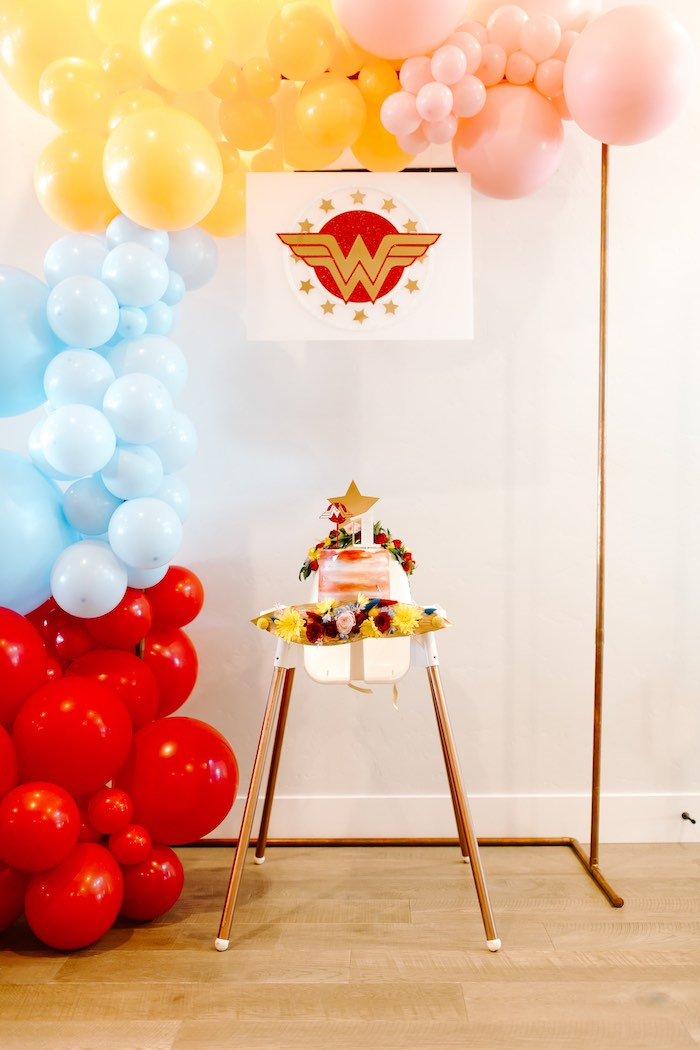 Wonder Woman Smash Cake + High Chair from a Wonder Woman Birthday Party on Kara's Party Ideas | KarasPartyIdeas.com (4)