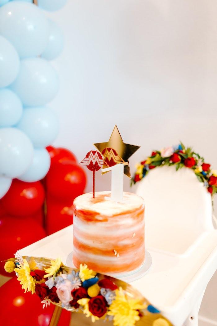 Wonder Woman Smash Cake from a Wonder Woman Birthday Party on Kara's Party Ideas | KarasPartyIdeas.com (3)