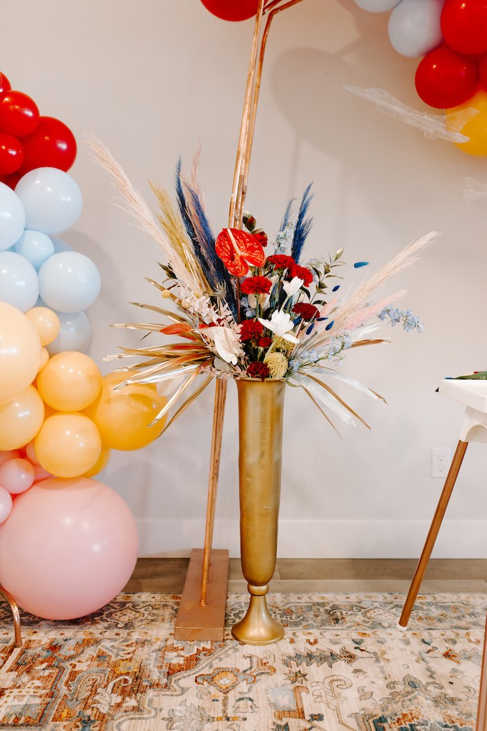 Florals from a Wonder Woman Birthday Party on Kara's Party Ideas | KarasPartyIdeas.com (25)