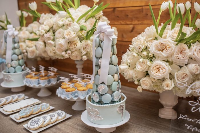 """Macaron Tower + Dessert Table from a """"Welcome to the World"""" Travel Baby Shower on Kara's Party Ideas 