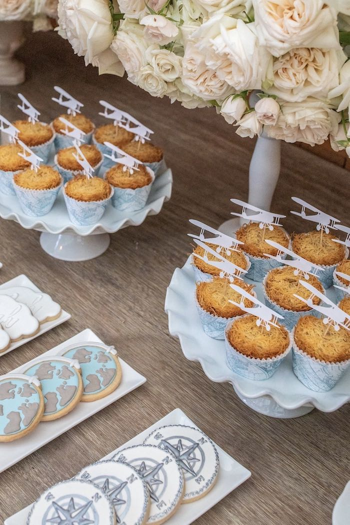 """Airplane Cupcakes from a """"Welcome to the World"""" Travel Baby Shower on Kara's Party Ideas 