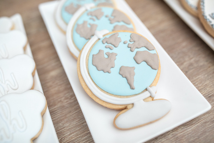 """Globe Cookies from a """"Welcome to the World"""" Travel Baby Shower on Kara's Party Ideas 