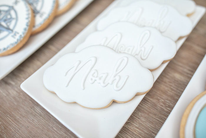 """Personalized Cloud Cookies from a """"Welcome to the World"""" Travel Baby Shower on Kara's Party Ideas 