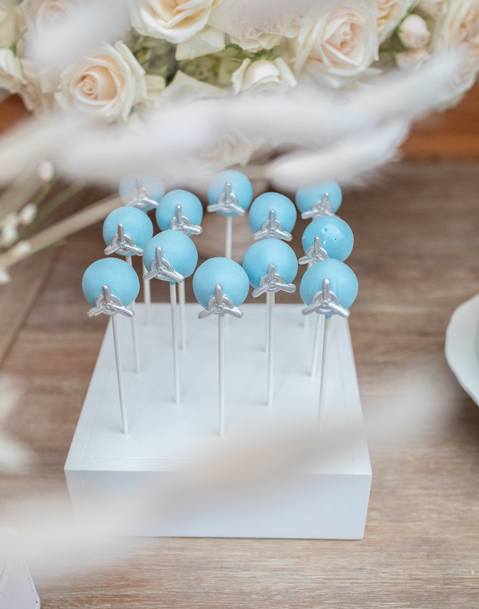 """Propeller Cake Pops from a """"Welcome to the World"""" Travel Baby Shower on Kara's Party Ideas 