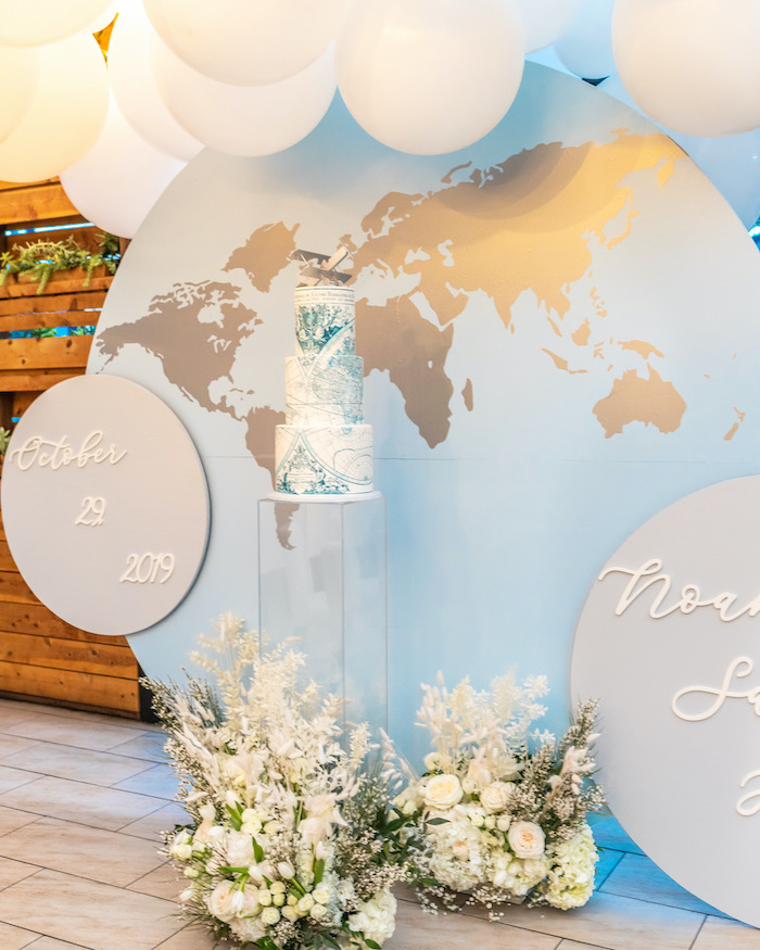 """World Cake from a """"Welcome to the World"""" Travel Baby Shower on Kara's Party Ideas 