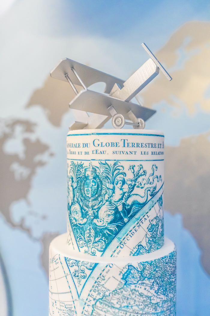 """Atlas Cake from a """"Welcome to the World"""" Travel Baby Shower on Kara's Party Ideas 