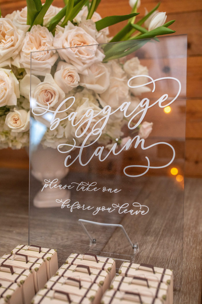 """Acrylic Favor Sign from a """"Welcome to the World"""" Travel Baby Shower on Kara's Party Ideas 