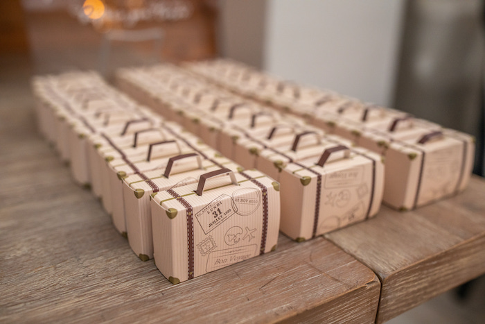 """Luggage Favor Boxes from a """"Welcome to the World"""" Travel Baby Shower on Kara's Party Ideas 