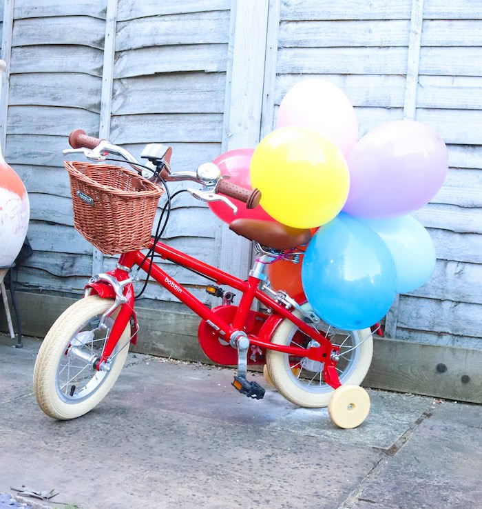 Bike with Rainbow Balloon Bunch from a Backyard Rainbow Art Party on Kara's Party Ideas | KarasPartyIdeas.com (10)