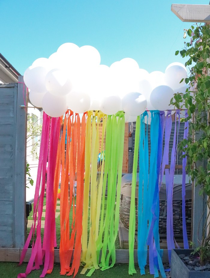 Rainbow Balloon Tassel from a Backyard Rainbow Art Party on Kara's Party Ideas | KarasPartyIdeas.com (9)