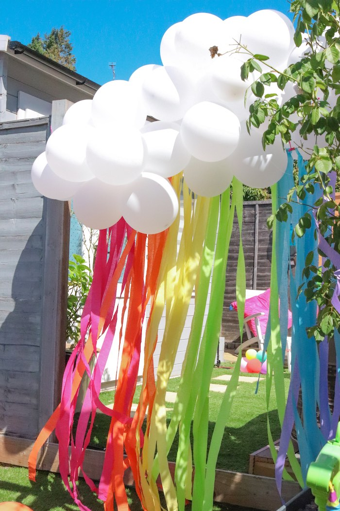 Rainbow Balloon Tassel from a Backyard Rainbow Art Party on Kara's Party Ideas | KarasPartyIdeas.com (6)