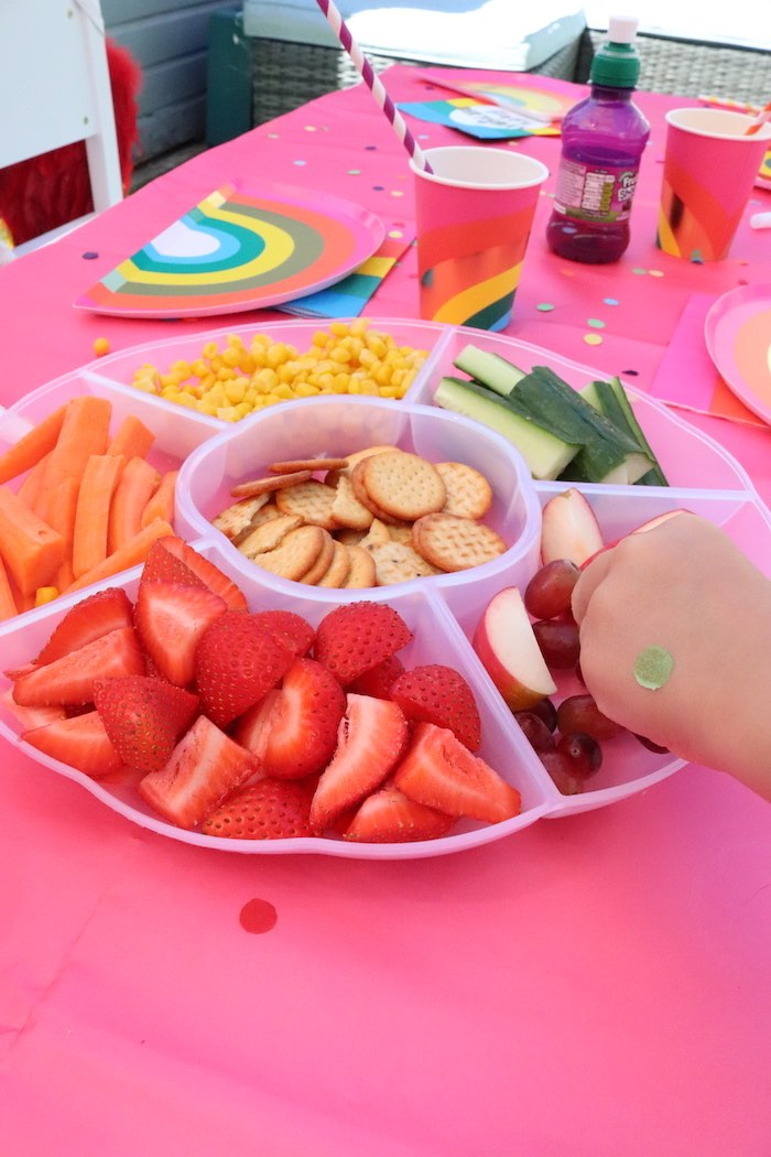 Rainbow veggie & fruit tray from a Backyard Rainbow Art Party on Kara's Party Ideas | KarasPartyIdeas.com (4)