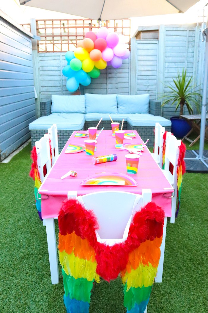Pink Rainbow Guest Table from a Backyard Rainbow Art Party on Kara's Party Ideas | KarasPartyIdeas.com (19)