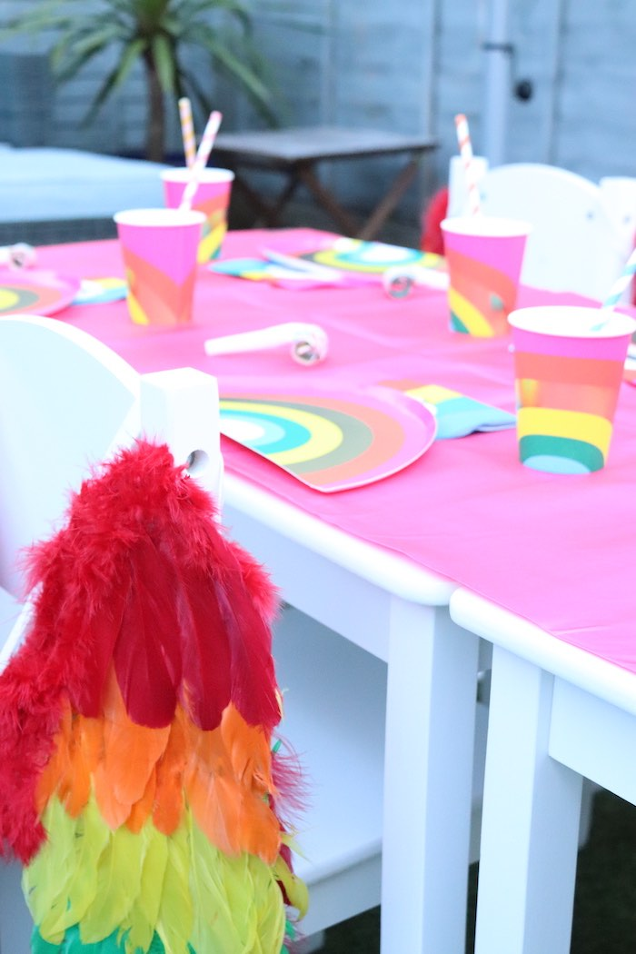 Rainbow Table Setting from a Backyard Rainbow Art Party on Kara's Party Ideas | KarasPartyIdeas.com (17)