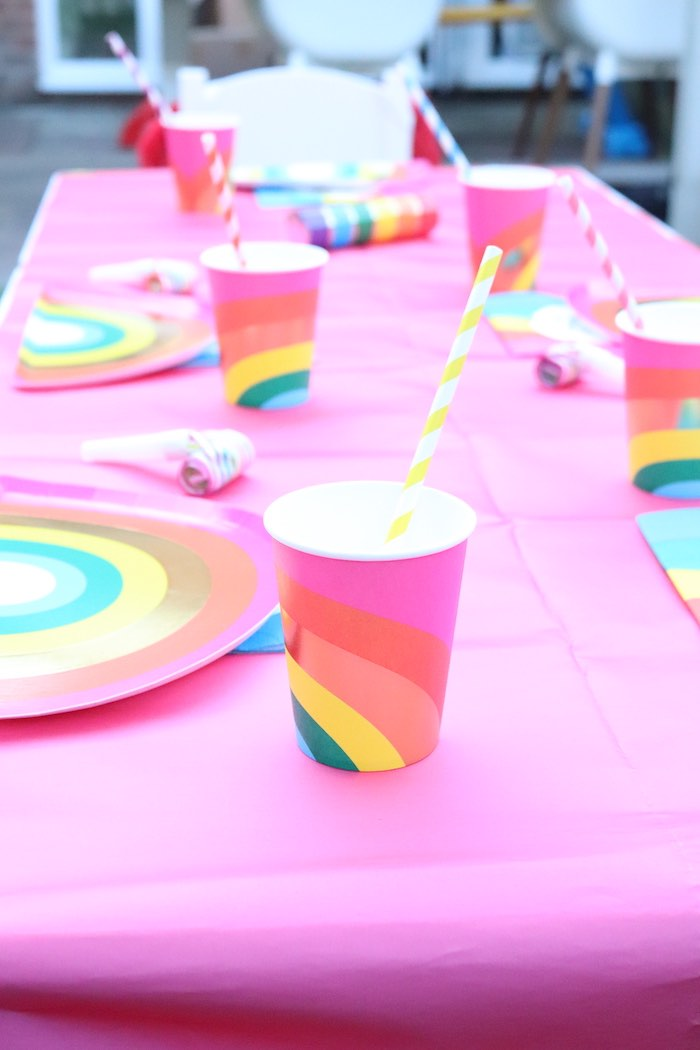 Pink Rainbow Cup from a Backyard Rainbow Art Party on Kara's Party Ideas | KarasPartyIdeas.com (16)