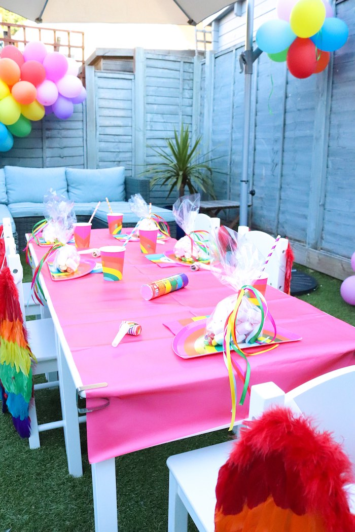 Rainbow Guest Table from a Backyard Rainbow Art Party on Kara's Party Ideas | KarasPartyIdeas.com (12)