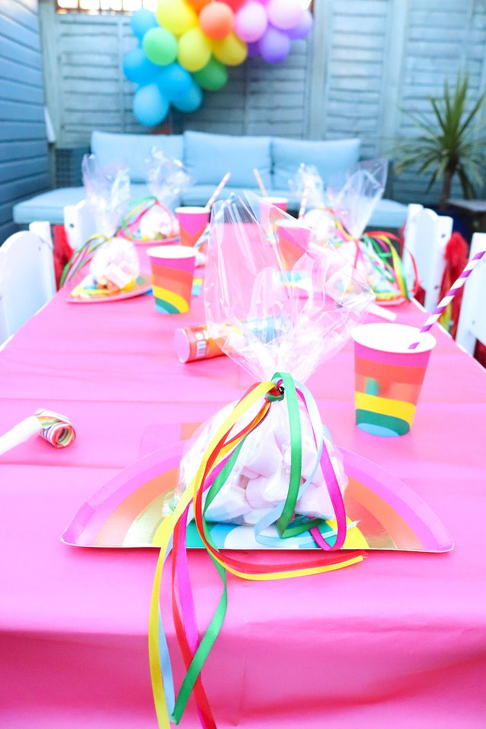 Rainbow Table Setting + Goodie Bag from a Backyard Rainbow Art Party on Kara's Party Ideas | KarasPartyIdeas.com (11)