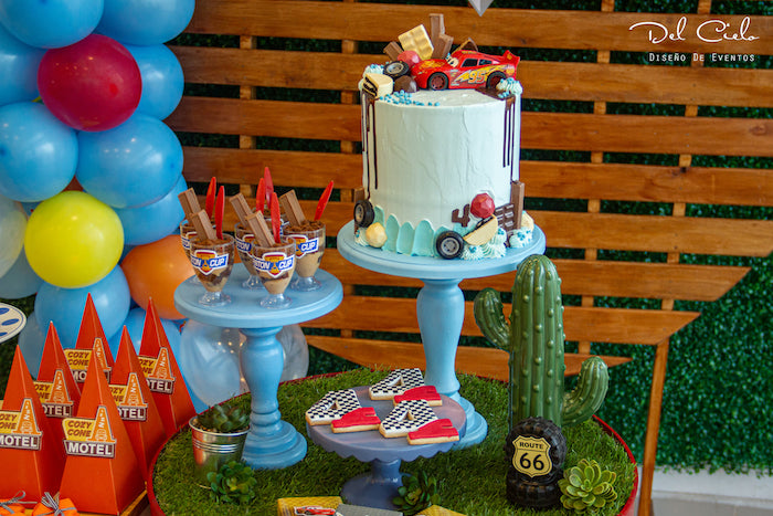 Cars Themed Cake + Dessert Table from a Cars + Radiator Springs Birthday Party on Kara's Party Ideas | KarasPartyIdeas.com (18)
