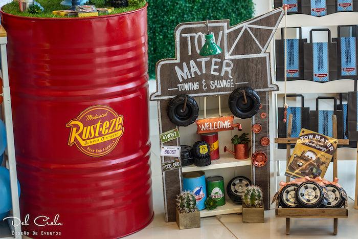 Tow Mater Favor + Decor Shelf from a Cars + Radiator Springs Birthday Party on Kara's Party Ideas | KarasPartyIdeas.com (16)