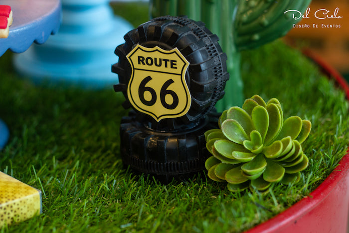 Route 66 Tires from a Cars + Radiator Springs Birthday Party on Kara's Party Ideas | KarasPartyIdeas.com (13)