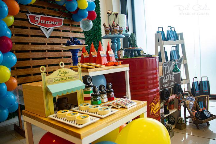 Luigi's + Cozy Cone Sweet & Favor Table from a Cars + Radiator Springs Birthday Party on Kara's Party Ideas | KarasPartyIdeas.com (8)