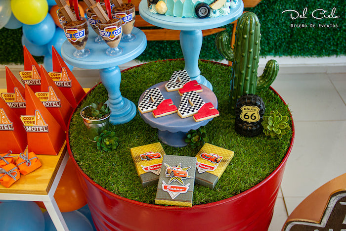 Route 66 Desert-inspired Barrel Sweet Table from a Cars + Radiator Springs Birthday Party on Kara's Party Ideas | KarasPartyIdeas.com (4)