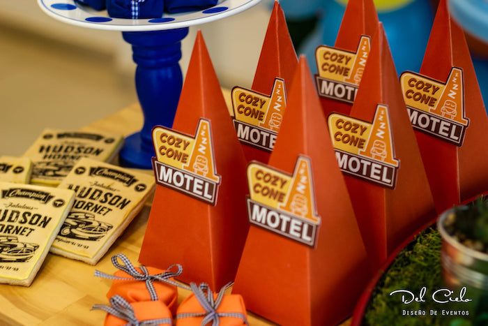Cozy Cone Motel Favor Cones from a Cars + Radiator Springs Birthday Party on Kara's Party Ideas | KarasPartyIdeas.com (26)