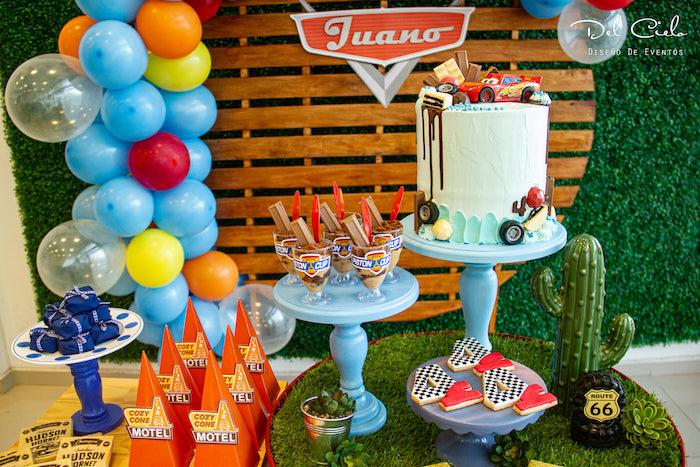 Cars Themed Barrel Cake + Dessert Table from a Cars + Radiator Springs Birthday Party on Kara's Party Ideas | KarasPartyIdeas.com (20)