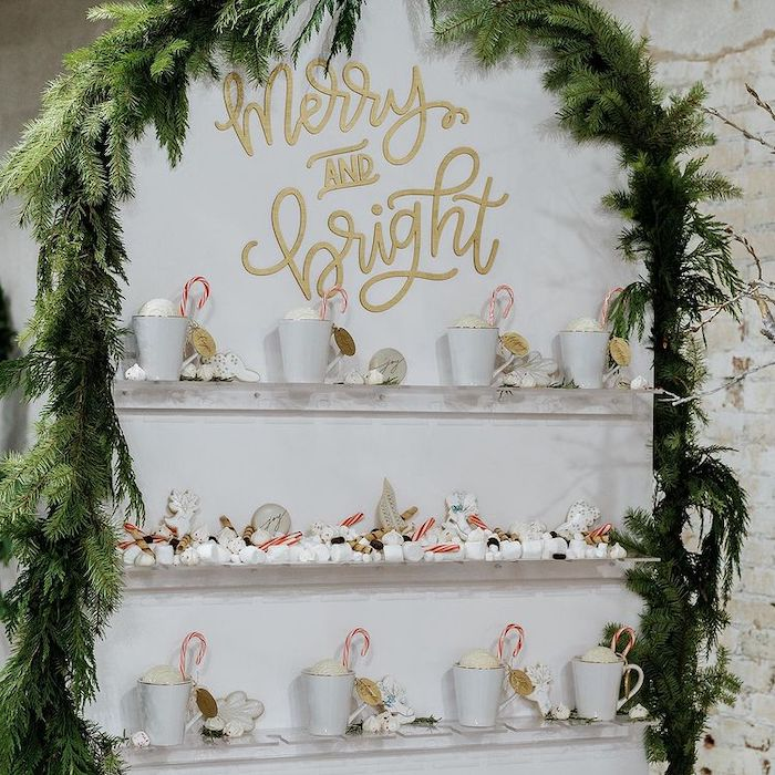 Merry & Bright Hot Cocoa Wall with Coco Bomb Cups from a Cozy & Chic Winter Dinner Party on Kara's Party Ideas | KarasPartyIdeas.com (13)