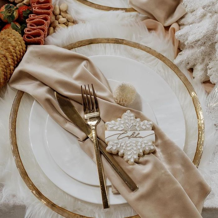 Winter Themed Table Setting with Snowflake Cookie Place Set from a Cozy & Chic Winter Dinner Party on Kara's Party Ideas | KarasPartyIdeas.com (12)