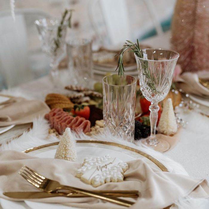 Winter Themed Table Setting from a Cozy & Chic Winter Dinner Party on Kara's Party Ideas | KarasPartyIdeas.com (10)