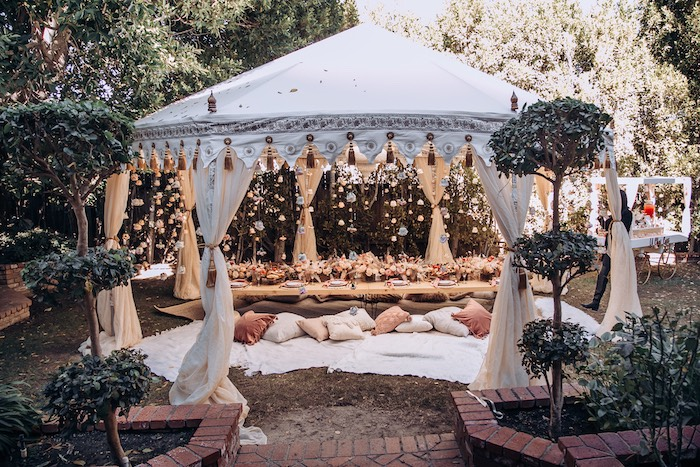 Tented Boho Guest Table from an Elegant Bohemian Blessingway on Kara's Party Ideas | KarasPartyIdeas.com (21)