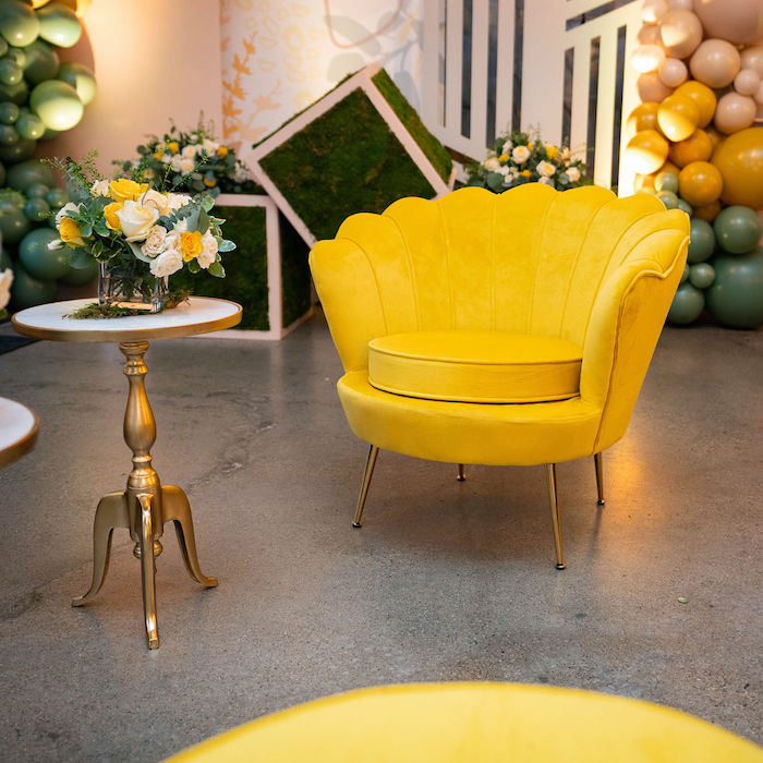Yellow Chair from an Elegant Rustic Garden Baby Shower on Kara's Party Ideas | KarasPartyIdeas.com (30)