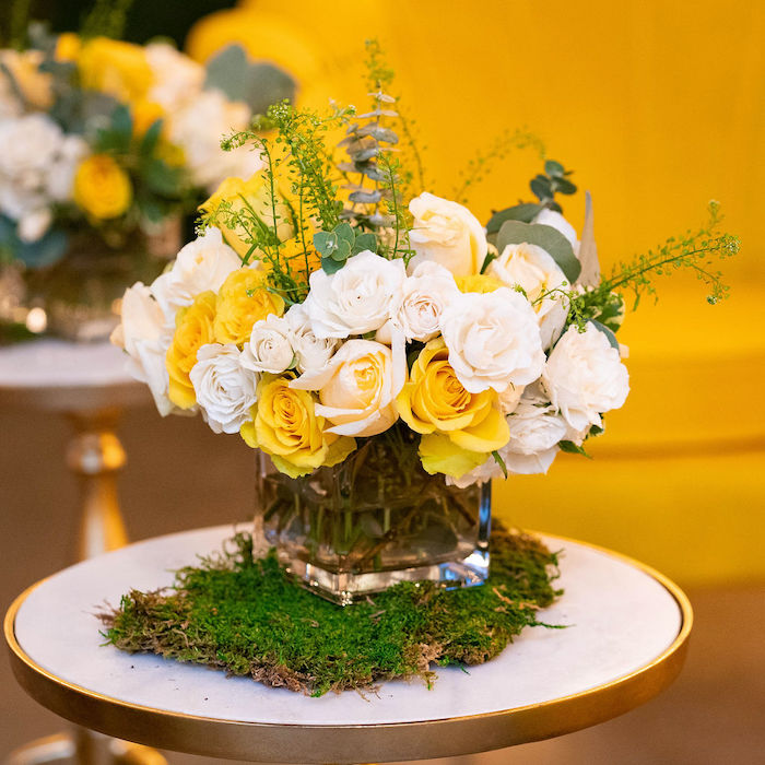 Yellow + White Garden Floral Arrangement from an Elegant Rustic Garden Baby Shower on Kara's Party Ideas | KarasPartyIdeas.com (29)