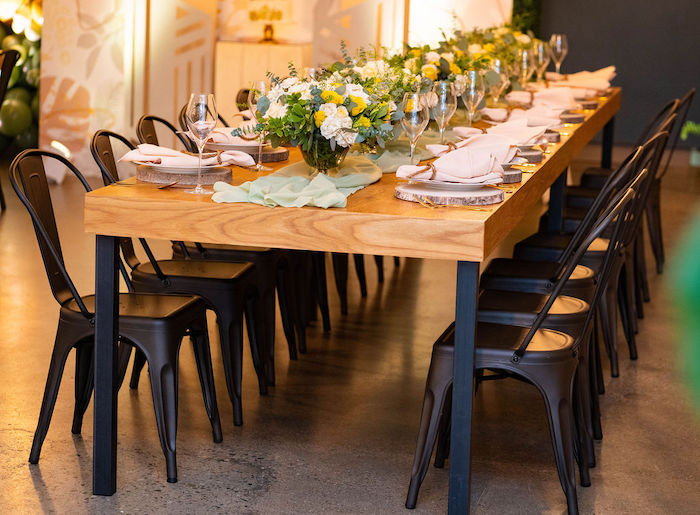 Wood Guest Tables from an Elegant Rustic Garden Baby Shower on Kara's Party Ideas | KarasPartyIdeas.com (19)