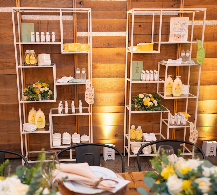 Modern Baby Supply-covered Favor Shelves from an Elegant Rustic Garden Baby Shower on Kara's Party Ideas | KarasPartyIdeas.com (14)