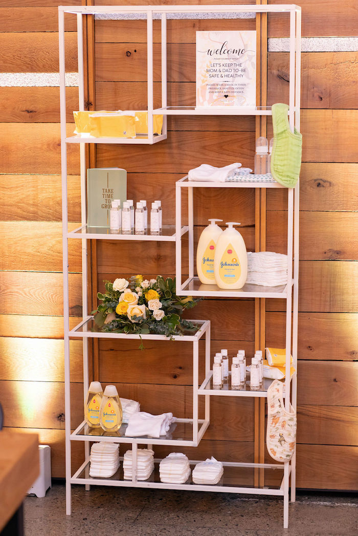 Baby Supply Favor Shelf from an Elegant Rustic Garden Baby Shower on Kara's Party Ideas | KarasPartyIdeas.com (12)