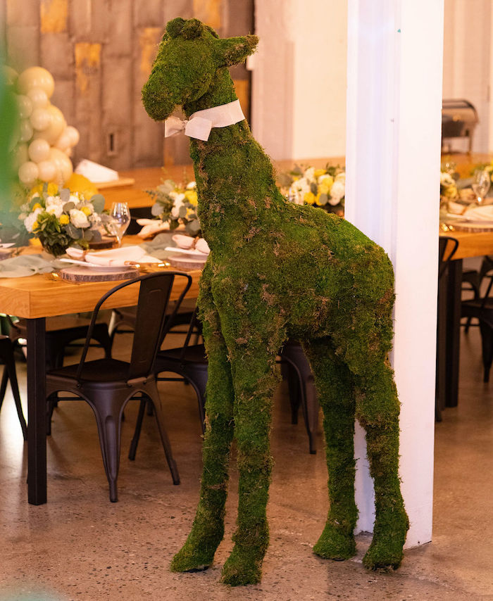 Giraffe Topiary from an Elegant Rustic Garden Baby Shower on Kara's Party Ideas | KarasPartyIdeas.com (6)