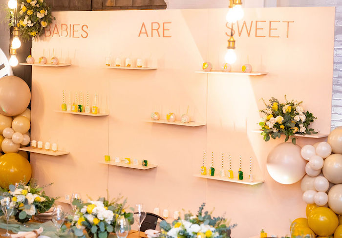 Dessert Wall from an Elegant Rustic Garden Baby Shower on Kara's Party Ideas | KarasPartyIdeas.com (36)