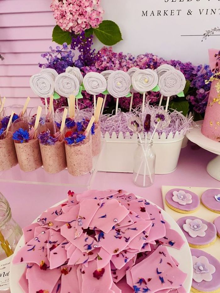Floral Bark + Dessert Table Sweets from a Flower Market Dessert Table from a Flower Market Party on Kara's Party Ideas | KarasPartyIdeas.com (14)
