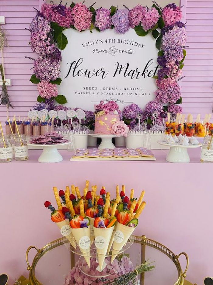 Flower Market Dessert Table from a Flower Market Party on Kara's Party Ideas | KarasPartyIdeas.com (11)