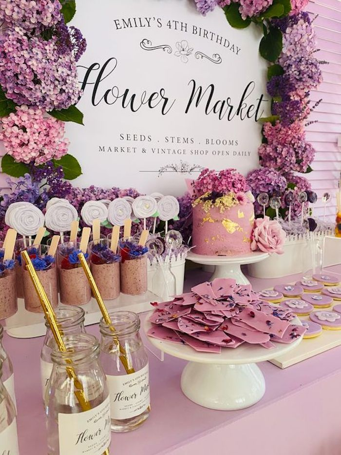 Flower Market Dessert Table from a Flower Market Party on Kara's Party Ideas | KarasPartyIdeas.com (10)