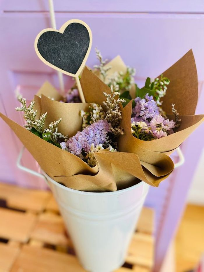 Bucket of Wrapped Flowers from a Flower Market Party on Kara's Party Ideas | KarasPartyIdeas.com (9)