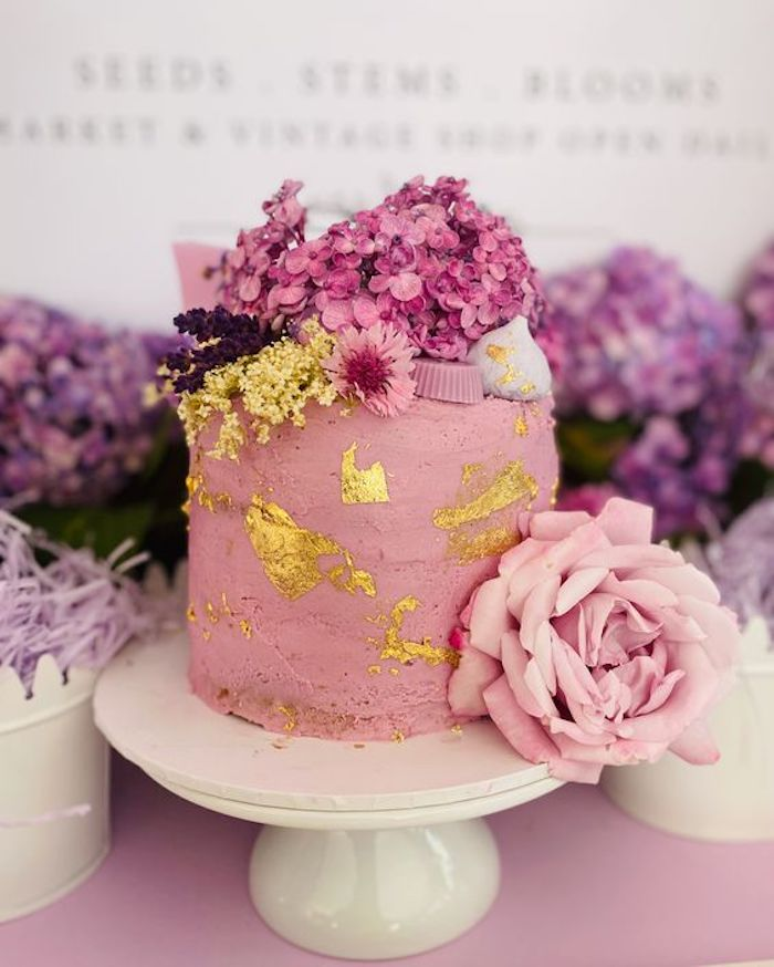 Pink Floral Glam Cake from a Flower Market Party on Kara's Party Ideas | KarasPartyIdeas.com (6)