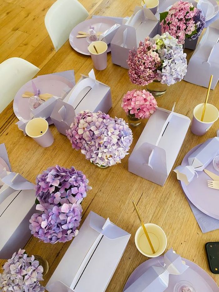 Purple Guest Table from a Flower Market Party on Kara's Party Ideas | KarasPartyIdeas.com (5)